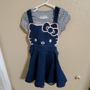 Hello Kitty Jean Dress with Matching Shirt size 5